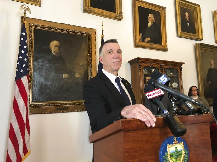 Vermont Republican Gov. Phil Scott, speaking on Thursday Feb. 6, 2020 at the Statehouse in Montpelier, Vt., said he thought President Donald Trump abused his power and he doesn't think the president should be in office. Scott also praised Utah Sen. Mitt Romney, the only Republican to break ranks with his party and vote to convict Trump. Scott has been a frequent critic of the president. (AP Photo/Wilson Ring)