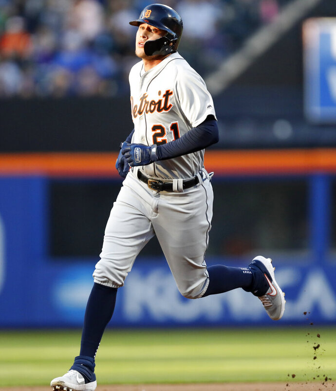 Detroit Tigers' JaCoby Jones (21) runs on his second-inning two-run home run in a baseball game against the New York Mets, Friday, May 24, 2019, in New York. (AP Photo/Kathy Willens)