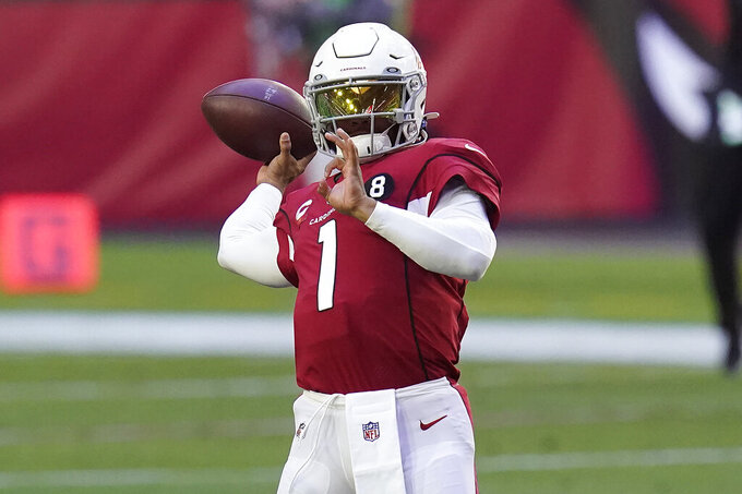 Arizona Cardinals quarterback Kyler Murray (1) warms up prior to an NFL football game against the Philadelphia Eagles, Sunday, Dec. 20, 2020, in Glendale, Ariz. (AP Photo/Ross D. Franklin)