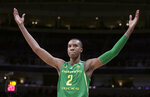 Oregon forward Louis King (2) celebrates during the second half of a first round men's college basketball game against Wisconsin in the NCAA Tournament, Friday, March 22, 2019, in San Jose, Calif. (AP Photo/Ben Margot)