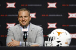 FILE - In this July 16, 2019, file photo, Texas head coach Tom Herman speaks during Big 12 Conference NCAA college football media day in Arlington, Texas. Herman has a problem at running back. He is having a hard time keeping them healthy. The No. 10 Longhorns head into their season-opener this week against Louisiana Tech with only two scholarship running backs available in sophomore Keaontay Ingram and Jordan Whittington. (AP Photo/David Kent, File)