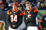 Cincinnati Bengals quarterbacks Andy Dalton (14) and Ryan Finley (5) stand on the sidelines during the second half an NFL football game against the Pittsburgh Steelers, Sunday, Nov. 24, 2019, in Cincinnati. (AP Photo/Frank Victores)
