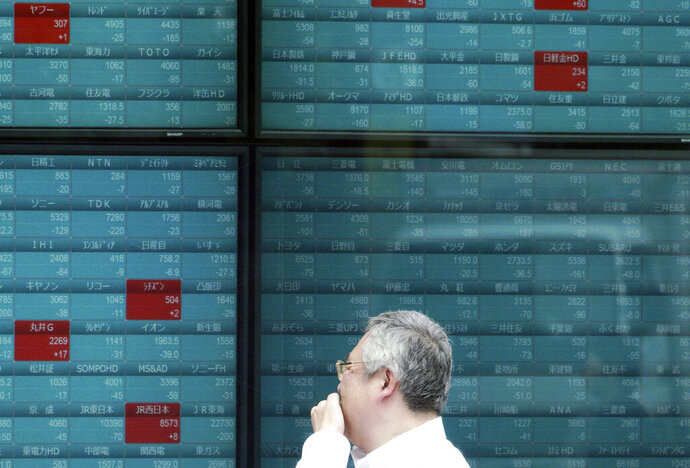 FILE - In this May 29, 2019, file photo, a man watches an electronic stock board showing Japan's Nikkei 225 index at a securities firm in Tokyo. Stocks in Asia advanced on Tuesday, June 18, 2019, ahead of interest rate decisions by the U.S. Federal Reserve and other central banks.(AP Photo/Eugene Hoshiko, File)