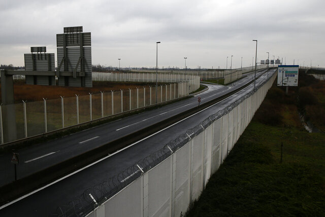 The road heading the check point on the Eurotunnel site is pictured in Coquelles, Monday Jan.4, 2021. Britain left the European bloc's vast single market for people, goods and services, completing the biggest single economic change the country has experienced since World War II. (AP Photo/Michel Spingler)
