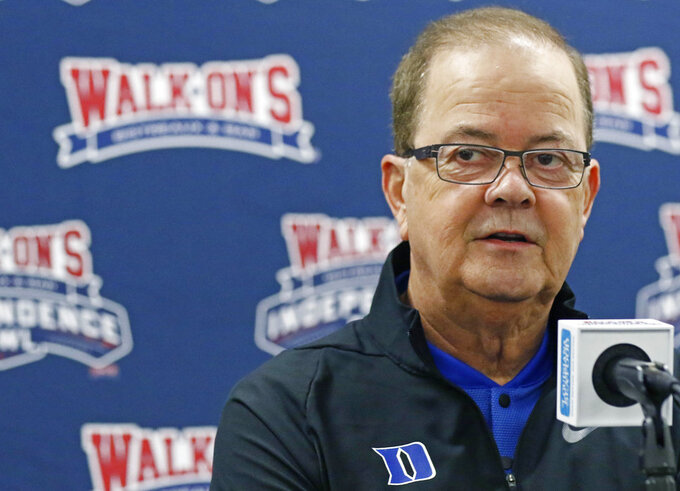 Duke football coach David Cutcliffe answers a reporter's question during the 2018 Independence Bowl news conference in Shreveport, La., Wednesday, Dec. 26, 2018. Duke faces Temple in the NCAA college football game Thursday. (Rogelio V. Solis/AP)