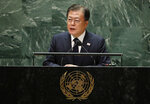South Korea's President Moon Jae-in addresses the 76th session of the United Nations General Assembly, Tuesday, Sept. 21, 2021 at UN headquarters. (Eduardo Munoz/Pool Photo via AP)