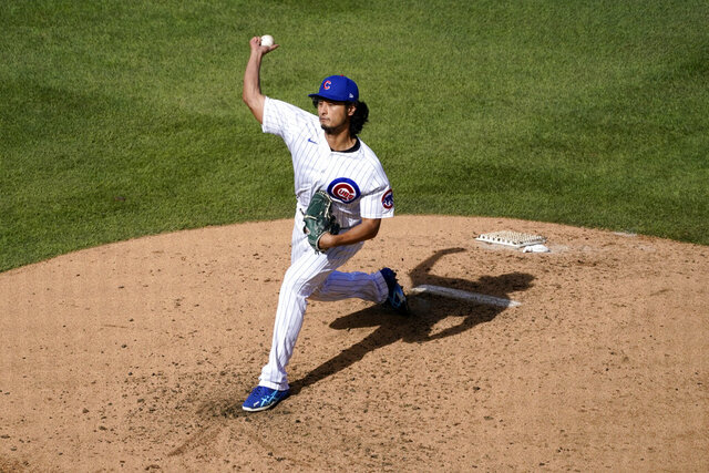 Chicago Cubs starting pitcher Yu Darvish throws during the fifth inning in Game 2 of a National League wild-card baseball series against the Miami Marlins Friday, Oct. 2, 2020, in Chicago. (AP Photo/Nam Y. Huh)