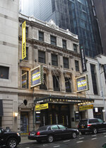 This Oct. 29, 2019 photo shows the exterior of the Hudson Theatre on West 44th Street in New York.  A newly launched tour of the Hudson Theatre offers a rare chance to wander around the interior of Broadway's oldest theater. (AP Photo/Mark Kennedy)