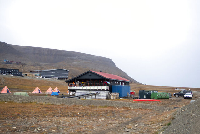 The Longyearbyen camp site after a polar bear attacked the site and killed a man in Norway's remote Svalbard Islands in the Arctic, Friday Aug. 28, 2020. The polar bear was killed.  The man, who wasn't identified, was rushed to hospital in the main settlement where he was declared dead Friday. (Line Nagell Ylvisaker / NTB scanpix via AP)