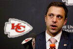 FILE - In this April 26, 2018, file photo, Kansas City Chiefs general manager Brett Veach talks to the media in Kansas City, Mo. The 2020 NFL Draft is April 23-25. (AP Photo/Charlie Riedel, File)