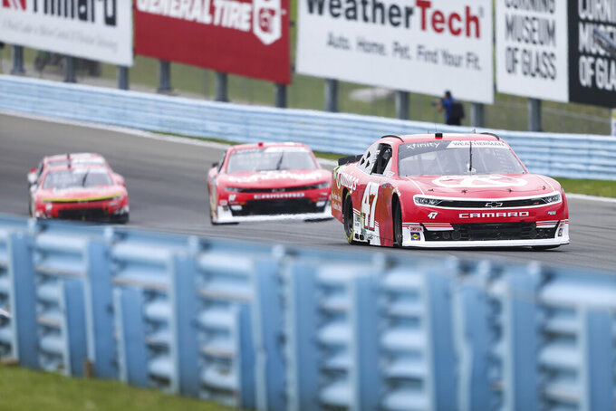 Kyle Weatherman (47) drives through the Esses in the NASCAR Xfinity Series auto race at Watkins Glen International in Watkins Glen, N.Y., on Saturday, Aug. 7, 2021. (AP Photo/Joshua Bessex)
