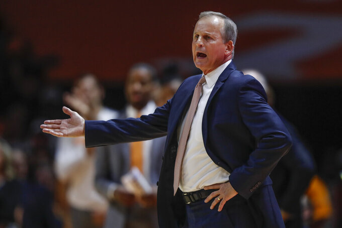 Tennessee head coach Rick Barnes reacts to a call during the first half of an NCAA college basketball game against Memphis Saturday, Dec. 14, 2019, in Knoxville, Tenn. (AP Photo/Wade Payne)