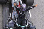Mercedes driver Lewis Hamilton of Britain celebrates after winning the Spanish Formula One Grand Prix at the Barcelona Catalunya racetrack in Montmelo, just outside Barcelona, Spain, Sunday, May 9, 2021. (Lars Baron/Pool via AP)