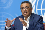 Tedros Adhanom Ghebreyesus, Director-General of the World Health Organization (WHO), speaks at the European headquarters of the United Nations in Geneva, Switzerland, Thursday, March 14, 2019 about the update on WHO Ebola operations in the Democratic Republic of the Congo (DRC). (Martial Trezzini/Keystone via AP)