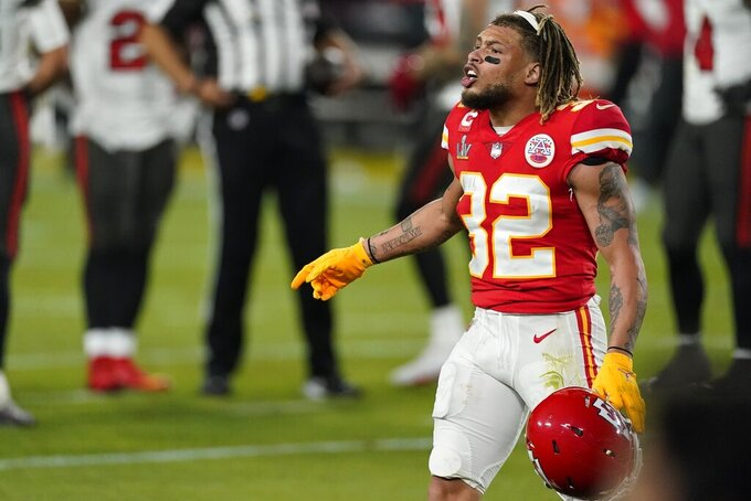 Kansas City Chiefs strong safety Tyrann Mathieu reacts after a play against the Tampa Bay Buccaneers during the first half of the NFL Super Bowl 55 football game Sunday, Feb. 7, 2021, in Tampa, Fla. (AP Photo/Ashley Landis)