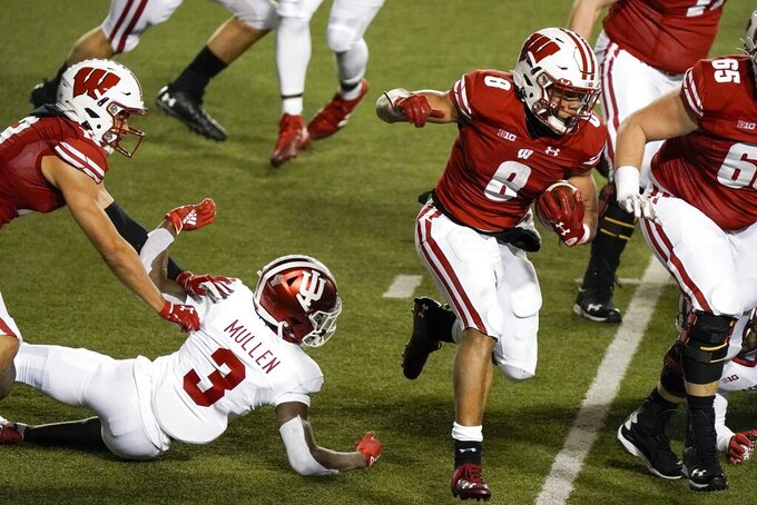 Wisconsin running back Jalen Bergerruns during the second half of an NCAA college football game against Indiana Saturday, Dec. 5, 2020, in Madison, Wis.Indiana won 14-6. (AP Photo/Morry Gash)