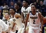 Purdue's Eric Hunter Jr. (2) and teammates on the bench celebrate during the second half of the team's second-round men's college basketball game against Villanova in the NCAA Tournament, Saturday, March 23, 2019, in Hartford, Conn. Purdue won 87-61. (AP Photo/Elise Amendola)