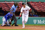 Boston Red Sox's Bobby Dalbec, right, watches the flight of his home run as Toronto Blue Jays' Caleb Joseph, left, looks on in the fourth inning of a baseball game, Sunday, Sept. 6, 2020, in Boston. (AP Photo/Steven Senne)