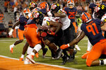 Maryland running back Tayon Fleet-Davis (8) rushes for a touchdown during the second half of the team's NCAA college football game against Illinois on Friday, Sept. 17, 2021, in Champaign, Ill. Maryland won 20-17. (AP Photo/Charles Rex Arbogast)