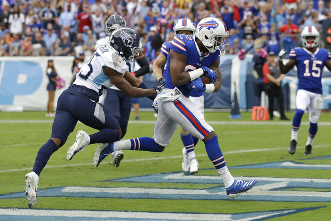 Buffalo Bills wide receiver Duke Williams (82) scores a touchdown on a 7-yard pass play against the Tennessee Titans in the second half of an NFL football game Sunday, Oct. 6, 2019, in Nashville, Tenn. (AP Photo/James Kenney)