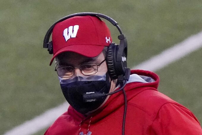 Wisconsin head coach Paul Chryst is seen during the first half of an NCAA college football game against Indiana Saturday, Dec. 5, 2020, in Madison, Wis. (AP Photo/Morry Gash)