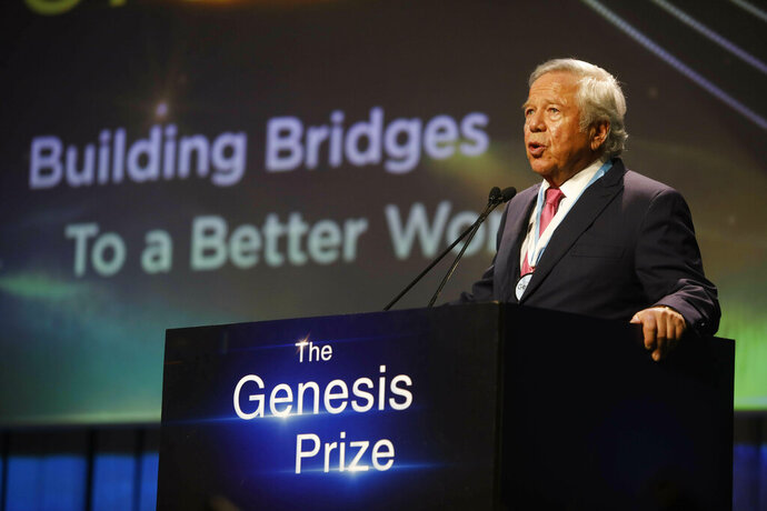 New England Patriots owner Robert Kraft, speaks after receiving Genesis Prize in Jerusalem, Thursday, June 20, 2019. Israel honored Kraft with the 2019 Genesis Prize for his philanthropy and commitment to combatting anti-Semitism. (AP Photo/Sebastian Scheiner)