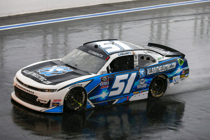 Jeremy Clements competes in the NASCAR Xfinity Series auto race at Charlotte Motor Speedway in Concord, N.C., Saturday, Oct. 10, 2020. (AP Photo/Nell Redmond)
