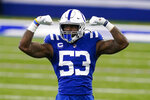Indianapolis Colts outside linebacker Darius Leonard (53) celebrates a defensive stop against the Tennessee Titans in the first half of an NFL football game in Indianapolis, Sunday, Nov. 29, 2020. (AP Photo/Darron Cummings)