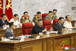 In this photo provided by the North Korean government, North Korean leader Kim Jong Un speaks during a Workers' Party meeting in Pyongyang, North Korea, Thursday, June 17, 2021. Kim ordered his government to be fully prepared for confrontation with the Biden administration, state media reported Friday, June 18, days after the United States and other major powers urged the North to abandon its nuclear program and return to talks. Independent journalists were not given access to cover the event depicted in this image distributed by the North Korean government. The content of this image is as provided and cannot be independently verified. (Korean Central News Agency/Korea News Service via AP)