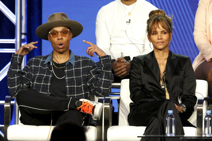 Lena Waithe, left, and Halle Berry participate in the