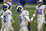 Los Angeles Rams quarterback Jared Goff (16) walks off the field during the second half of an NFL football game against the Seattle Seahawks, Sunday, Dec. 27, 2020, in Seattle. The Seahawks won 20-9. (AP Photo/Scott Eklund)