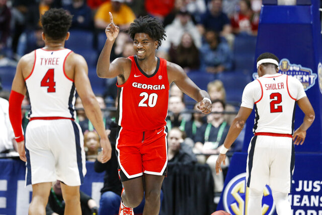 Georgia forward Rayshaun Hammonds (20) celebrates after a score against Mississippi in the second half of an NCAA college basketball game in the Southeastern Conference Tournament Wednesday, March 11, 2020, in Nashville, Tenn. Georgia won 81-63. (AP Photo/Mark Humphrey)