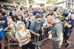 Penn State head coach James Franklin, front right, greets fans at a Citrus Bowl NCAA college football pep rally in Orlando, Fla., Monday, Dec. 31, 2018. (Joe Hermitt/The Patriot-News via AP)
