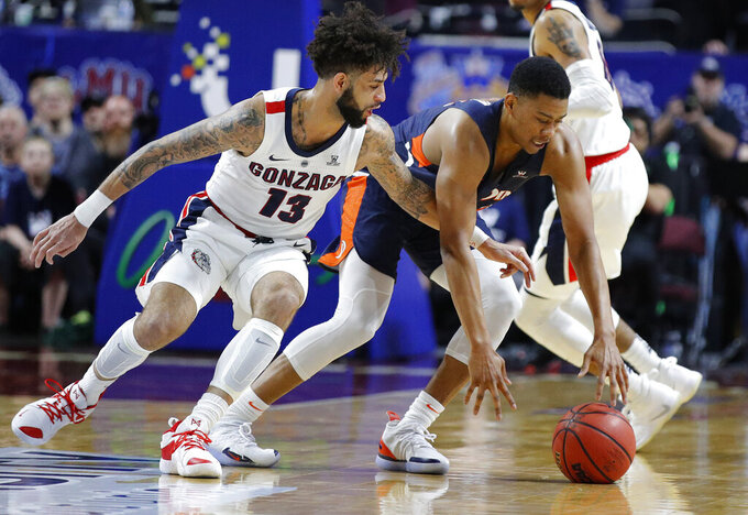 Gonzaga's Josh Perkins (13) tries to steal the ball from Pepperdine's Eric Cooper Jr. during the first half of an NCAA semifinal college basketball game at the West Coast Conference tournament, Monday, March 11, 2019, in Las Vegas. (AP Photo/John Locher)
