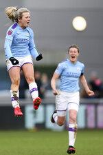 Manchester City's Lauren Hemp celebrates scoring against Chelsea women during the Women's Super League soccer match at the Academy Stadium, Manchester, Sunday Feb. 23, 2020. (Richard Sellers/PA via AP)