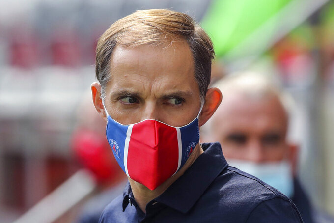 FILE - In this Sunday, Sept. 20, 2020 file photo, PSG's head coach Thomas Tuchel during the French League One soccer match between Nice and Paris Saint-Germain at the Allianz Riviera stadium in Nice, France. Paris Saint-Germain has fired coach Thomas Tuchel while the defending champion is in third place in the French league. Tuchel's dismissal on Thursday, Dec. 24, 2020 came the day after PSG beat Strasbourg 4-0 and after Tuchel was questioned about comments he made to German broadcaster SPORT1. (AP Photo/Daniel Cole, File)