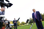 President Donald Trump speaks to reporters on the South Lawn of the White House, Tuesday, Sept. 22, 2020, before leaving for a short trip to Andrews Air Force Base, Md., and then onto Pittsburgh for a campaign rally. (AP Photo/Andrew Harnik)
