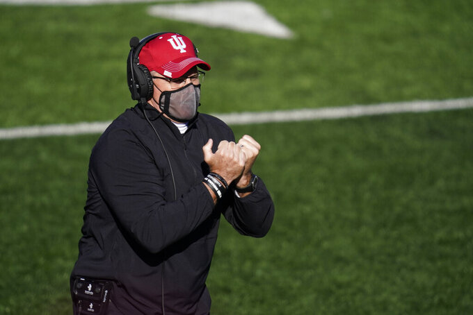 FILE -- In this Nov. 28, 2020, file photo, Indiana head coach Tom Allen watches during the second half of an NCAA college football game against Maryland in Bloomington, Ind. Allen has challenged his players to fulfill their potential by competing for their first Big Ten title since 1967. (AP Photo/Darron Cummings, File)