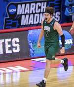 Ohio forward Ben Vander Plas (5) reacts after hitting a three-point basket against Virginia during the second half of a first-round game in the NCAA men's college basketball tournament, Saturday, March 20, 2021, at Assembly Hall in Bloomington, Ind. (AP Photo/Doug McSchooler)