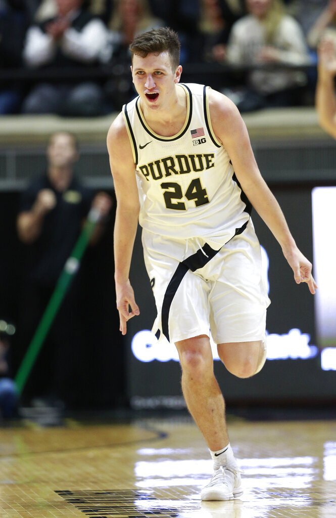 Purdue forward Grady Eifert reacts after making a basket in the first half of an NCAA college basketball game against Ohio State, Saturday, March 2, 2019, in West Lafayette, Ind. Purdue won 86-51. (AP Photo/R Brent Smith)