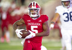 Indiana wide receiver J-Shun Harris II (5) scores during the second half of an NCAA college football game Saturday, Oct. 20, 2018, in Bloomington, Ind. Penn State won 33-28. (AP Photo/Doug McSchooler)