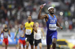 Rai Benjamin of the United States anchors the team to win the gold medal in the men's 4x400 meter relay final at the World Athletics Championships in Doha, Qatar, Sunday, Oct. 6, 2019. (AP Photo/Petr David Josek)