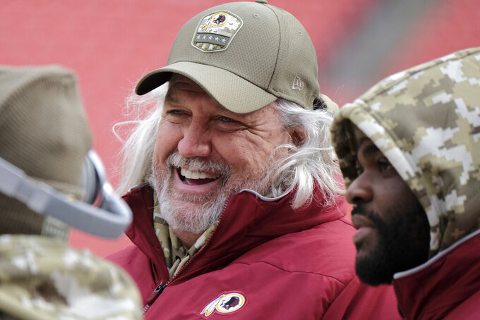Washington Redskins linebackers coach Rob Ryan on the side lines before the start of NFL football game between the New York Jets and Washington Redskins, Sunday, Nov. 17, 2019, in Landover, Md. (AP Photo/Mark Tenally)
