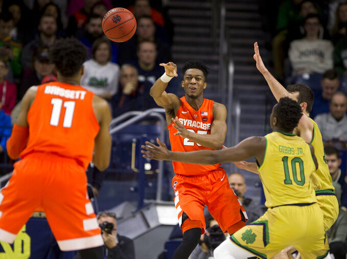 Hughes' career day sparks Syracuse past Notre Dame 72-62