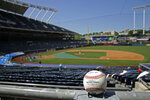 A foul ball rests in empty stands during Kansas City Royals' baseball practice at Kauffman Stadium on Thursday, July 9, 2020, in Kansas City, Mo. (AP Photo/Charlie Riedel)