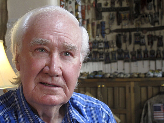 FILE - In this March 22, 2013, file photo, antiquities dealer and author Forrest Fenn sits in his home in Santa Fe, N.M. A bronze chest filled with gold, jewels, and other valuables worth more than $1 million and hidden a decade ago somewhere in the Rocky Mountain wilderness has been found, according to famed art and antiquities collector Fenn who created the treasure hunt. Fenn, 89, told the Santa Fe New Mexican on Sunday, June 7, 2020, that a man who did not want his name released located the chest a few days ago and the discovery was confirmed by a photograph the man sent him. (AP Photo/Jeri Clausing, File)