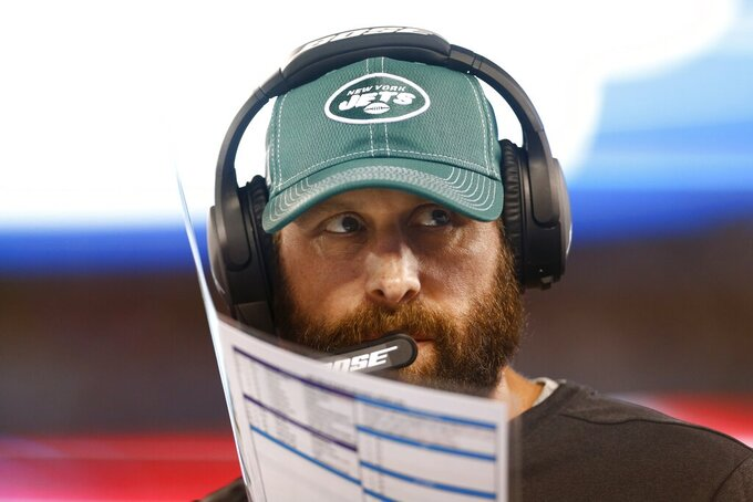 New York Jets coach Adam Gase watches his team play during the second half of a preseason NFL football game against the New York Giants on Thursday, Aug. 8, 2019, in East Rutherford, N.J. (AP Photo/Adam Hunger)