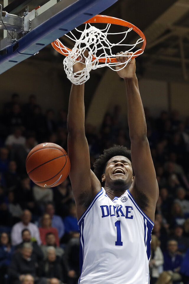 Duke center Vernon Carey Jr. (1) dunks against Pittsburgh during the second half of an NCAA college basketball game in Durham, N.C., Tuesday, Jan. 28, 2020. (AP Photo/Gerry Broome)