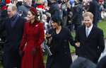 "FILE - In this Tuesday, Dec. 25, 2018 file photo, Britain's Prince William, left, Kate, Duchess of Cambridge, second left, Meghan Duchess of Sussex and Prince Harry, right, arrive to attend the Christmas day service at St Mary Magdalene Church in Sandringham in Norfolk, England. Prince William infuriated Prince Harry when he told his younger brother he should move slowly in his relationship with the former Meghan Markle, fearing that he was  being ""blindsided by lust,'' a new book on the Windsors says. The second installment of a serialized version of the book ""Finding Freedom,"" which appeared in the Sunday Times, Sunday, July 26, 2020 claimed that Harry was angered by what he perceived to be as William's snobby tone in a discussion about the American actress. (AP Photo/Frank Augstein, file)"