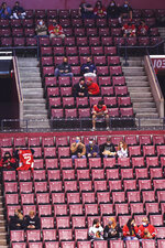 Fans watch the first period of an NHL hockey game between the Florida Panthers and the Chicago Blackhawks on Tuesday, Jan. 19, 2021, in Sunrise, Fla. Not only are the Panthers still unbeaten after two games but they're also leading the NHL in attendance. (AP Photo/Marta Lavandier)